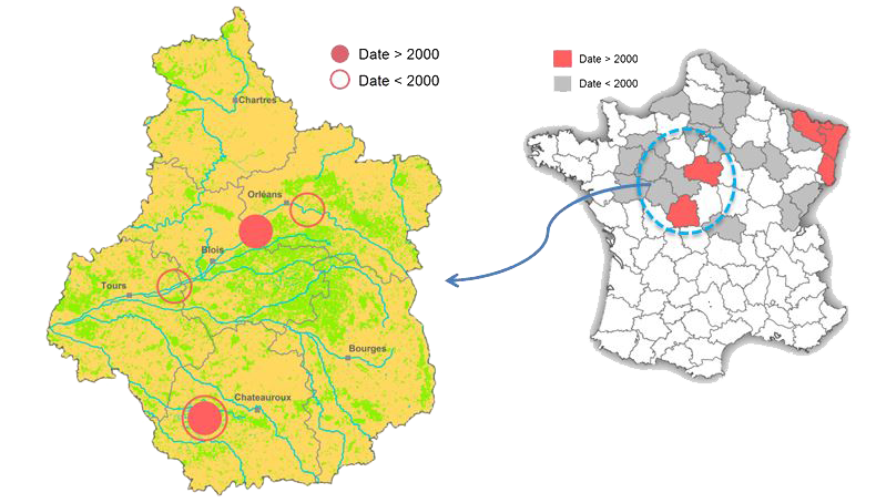Cartes de répartition du Pélobate brun en France Région Centre Val de Loire